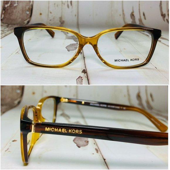Michael Kors Rectangle Amber Brown Eyeglasses NWOT